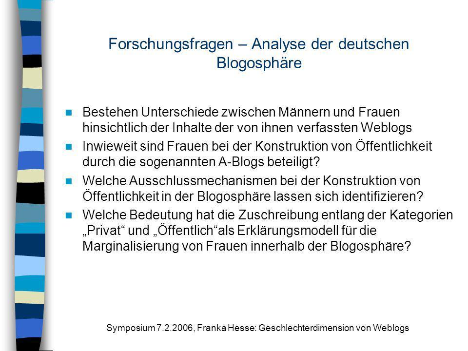 Forschungsfragen – Analyse der deutschen Blogosphäre
