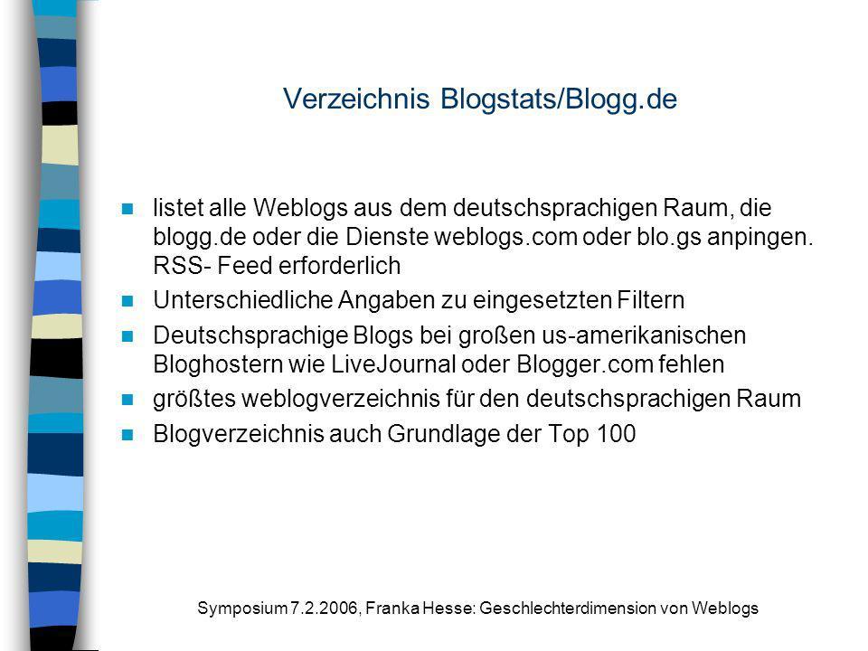 Verzeichnis Blogstats/Blogg.de