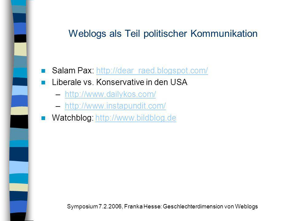 Weblogs als Teil politischer Kommunikation
