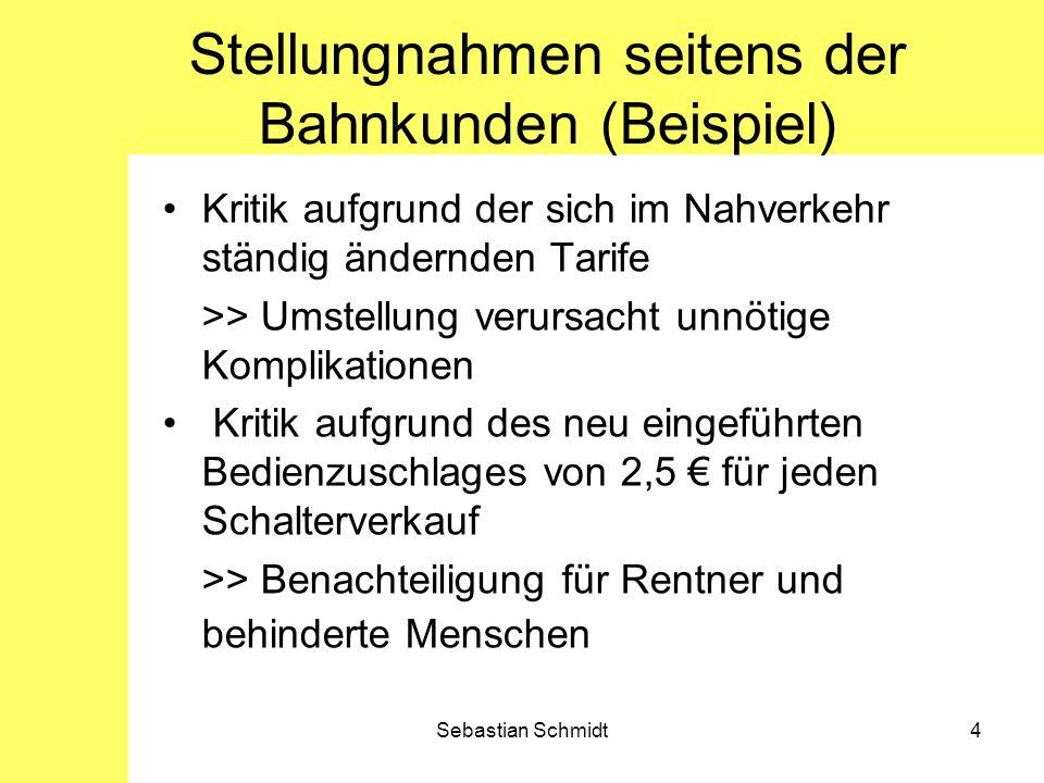 Stellungnahmen seitens der Bahnkunden (Beispiel)