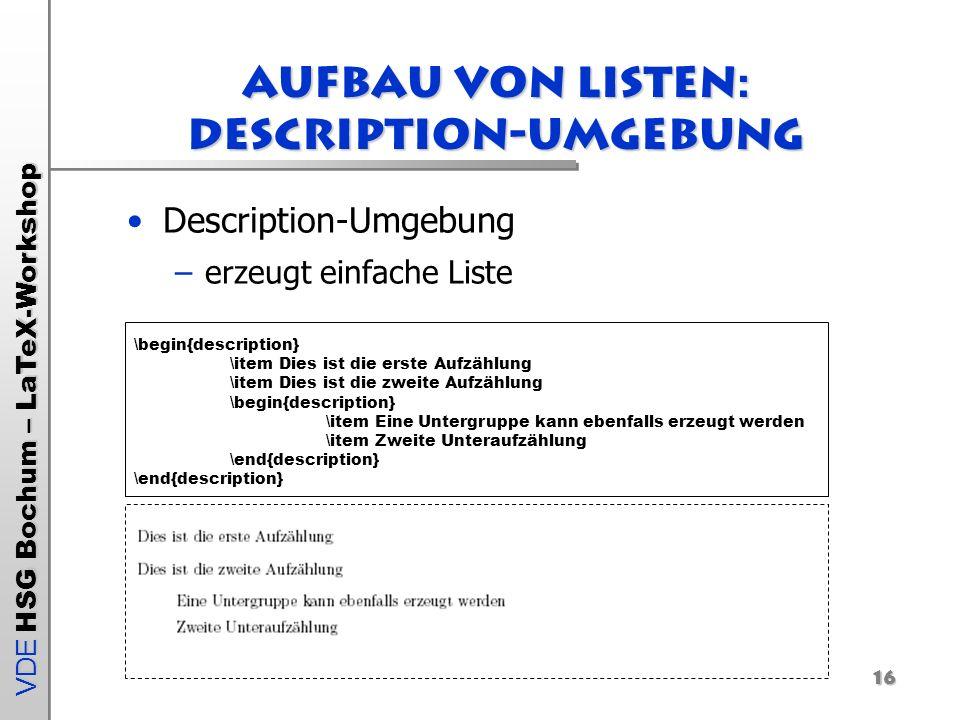 Aufbau von Listen: Description-Umgebung