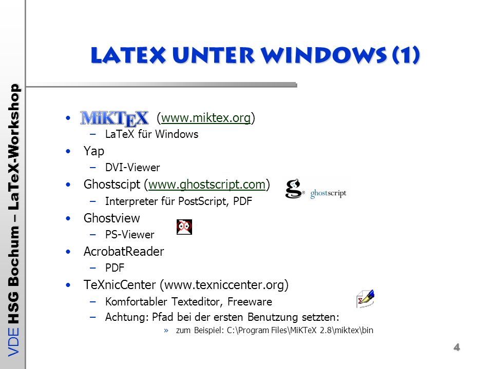 Latex unter Windows (1) (www.miktex.org) Yap