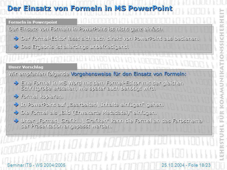 Der Einsatz von Formeln in MS PowerPoint