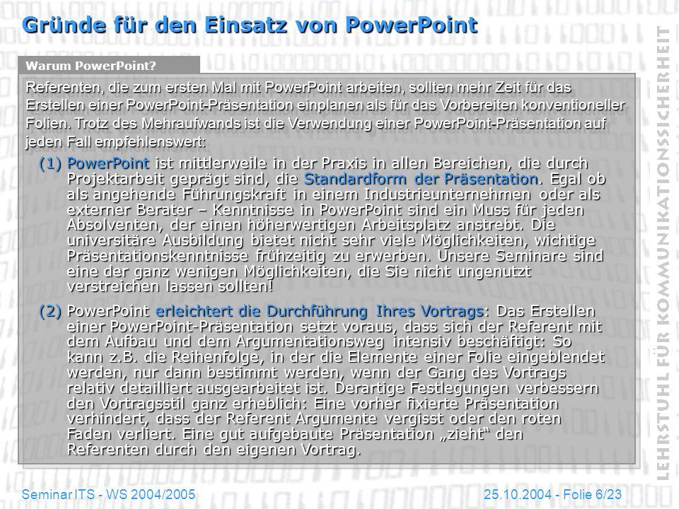 Gründe für den Einsatz von PowerPoint