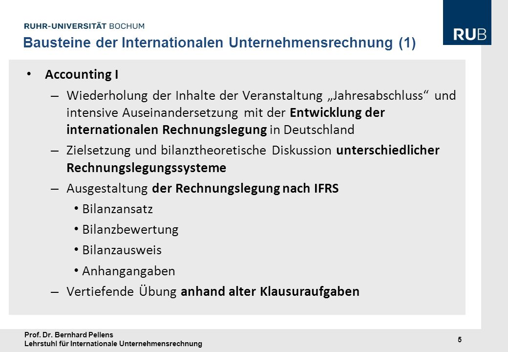 Bausteine der Internationalen Unternehmensrechnung (1)