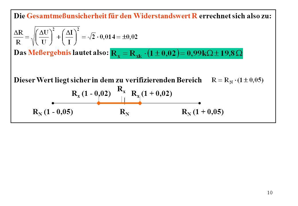 Die Gesamtmeßunsicherheit für den Widerstandswert R errechnet sich also zu: