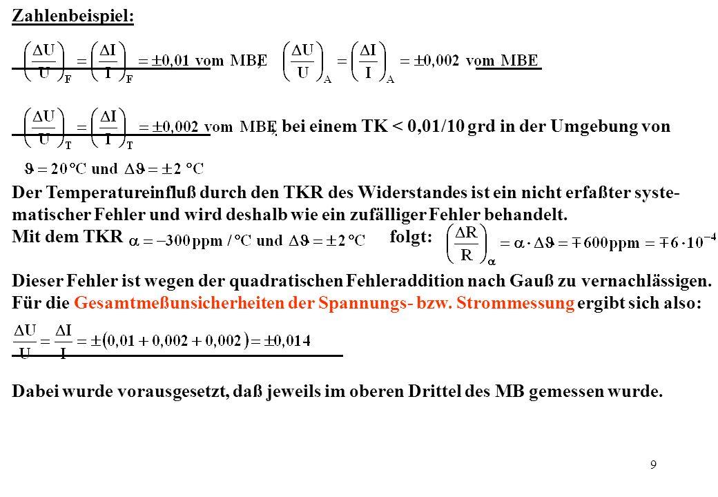 Zahlenbeispiel: , , bei einem TK < 0,01/10 grd in der Umgebung von.