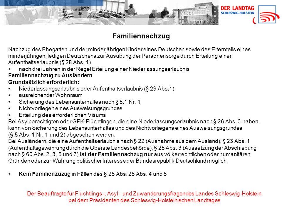 Familiennachzug Nachzug des Ehegatten und der minderjährigen Kinder eines Deutschen sowie des Elternteils eines.