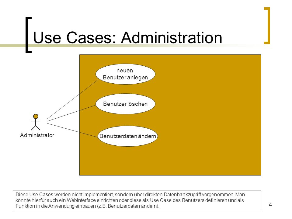 Use Cases: Administration