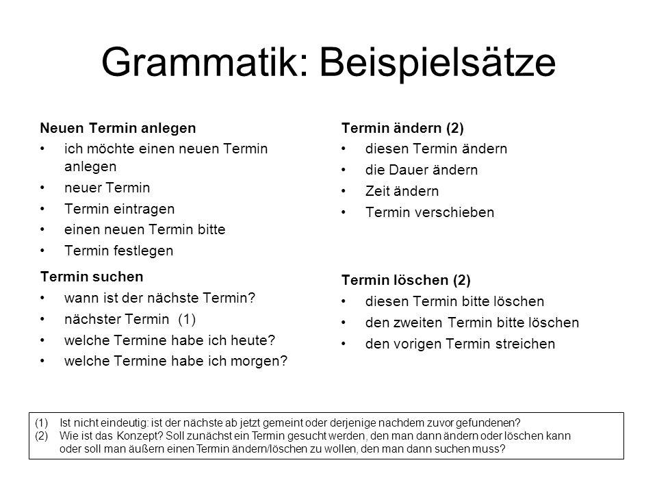 Grammatik: Beispielsätze