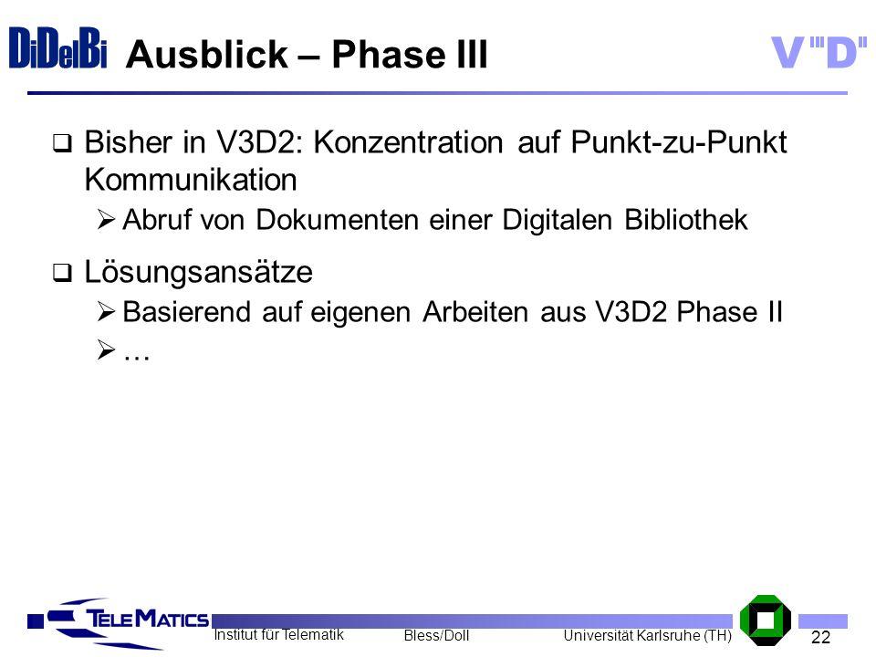 Ausblick – Phase III Bisher in V3D2: Konzentration auf Punkt-zu-Punkt Kommunikation. Abruf von Dokumenten einer Digitalen Bibliothek.