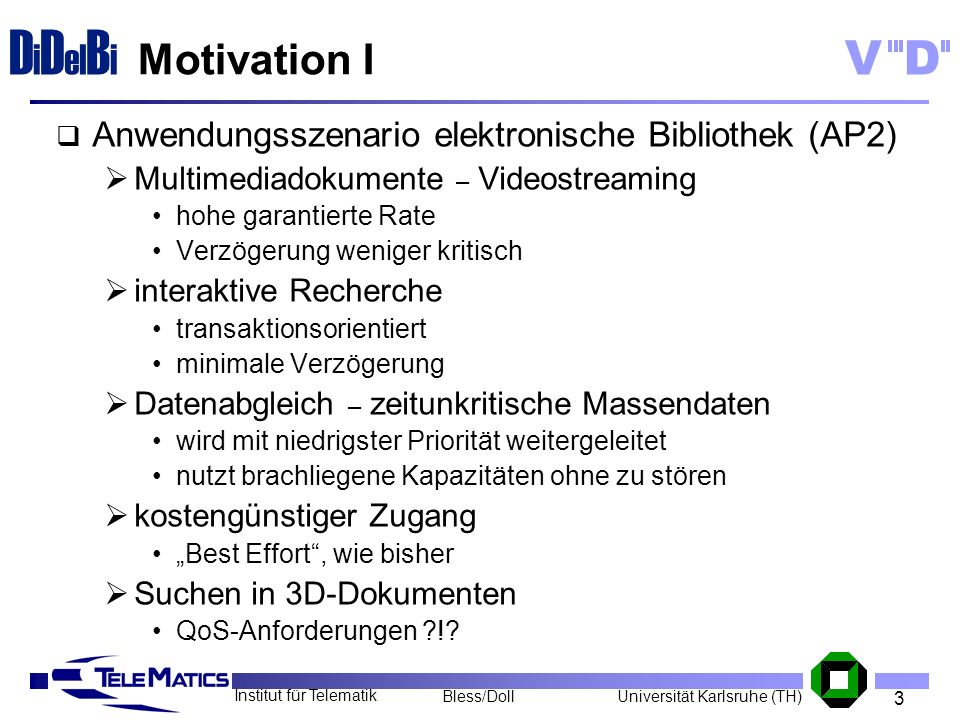Motivation I Anwendungsszenario elektronische Bibliothek (AP2)