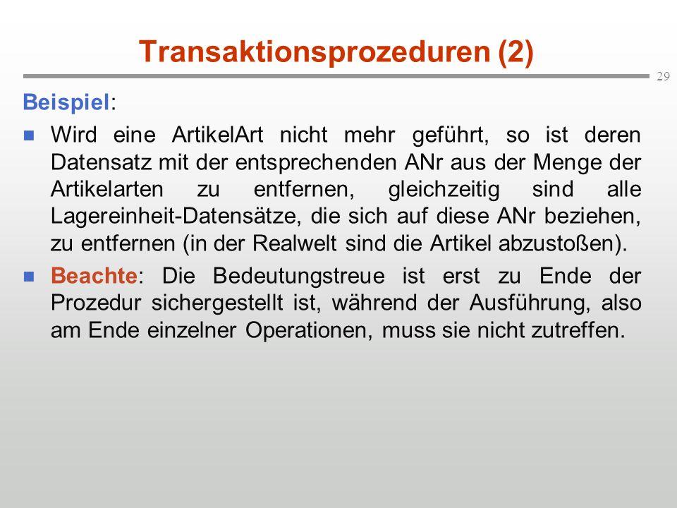 Transaktionsprozeduren (2)