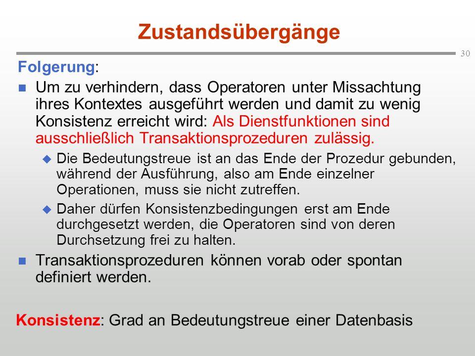 Zustandsübergänge Folgerung: