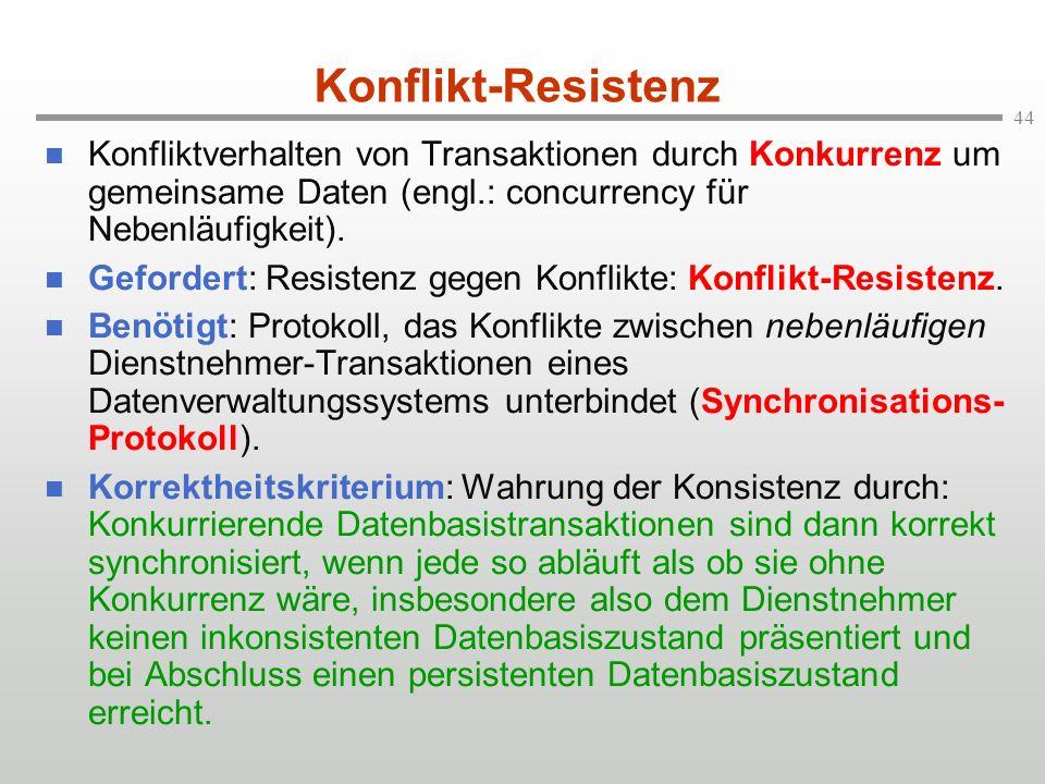 Konflikt-Resistenz Konfliktverhalten von Transaktionen durch Konkurrenz um gemeinsame Daten (engl.: concurrency für Nebenläufigkeit).