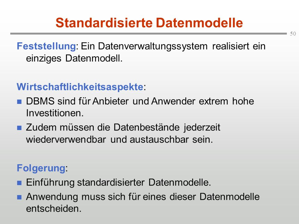 Standardisierte Datenmodelle