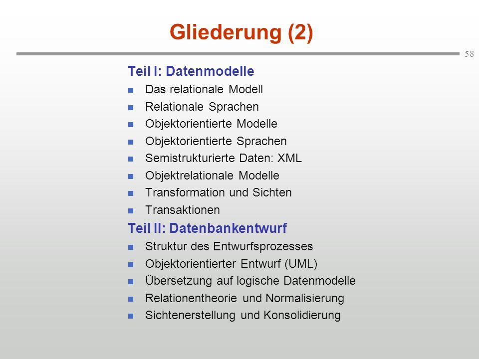 Gliederung (2) Teil I: Datenmodelle Teil II: Datenbankentwurf