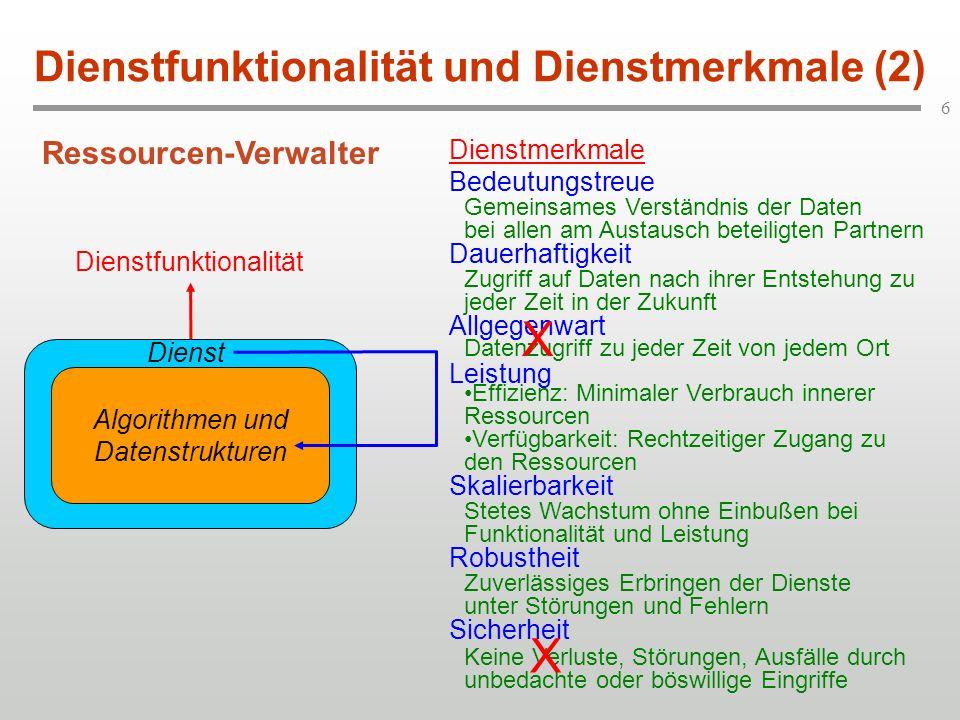 Dienstfunktionalität und Dienstmerkmale (2)