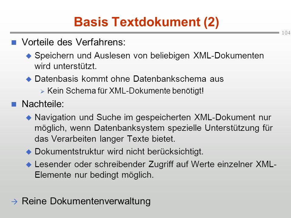 Basis Textdokument (2) Vorteile des Verfahrens: Nachteile:
