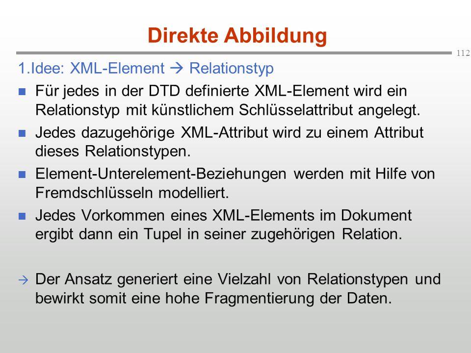 Direkte Abbildung 1.Idee: XML-Element  Relationstyp