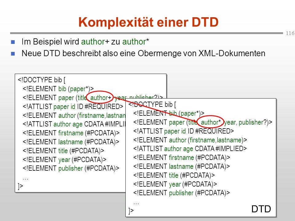 Komplexität einer DTD DTD DTD Im Beispiel wird author+ zu author*