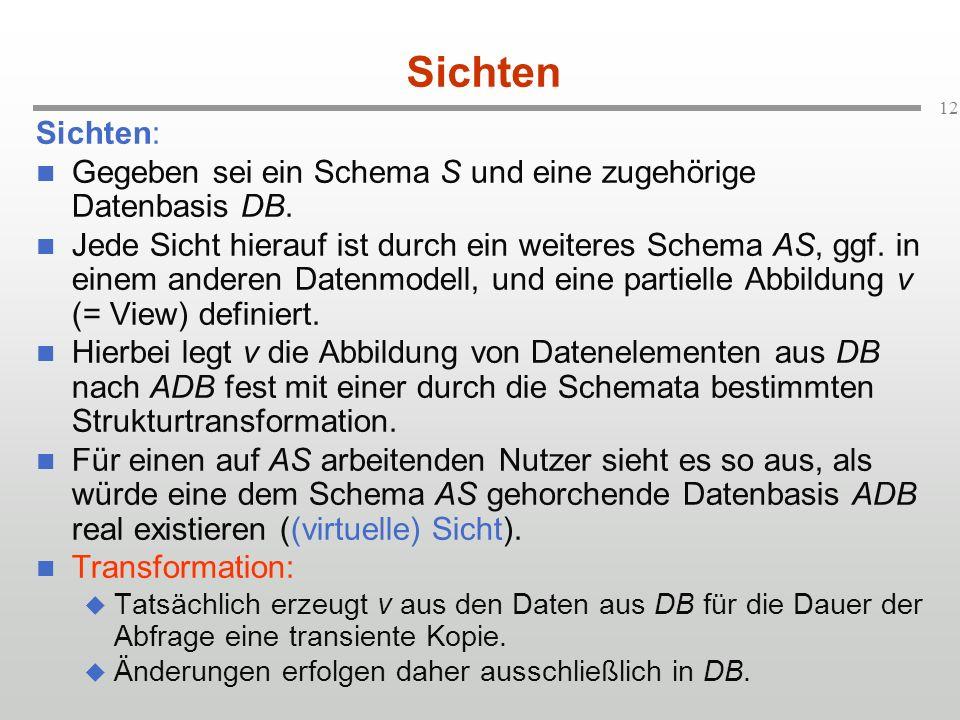 Sichten Sichten: Gegeben sei ein Schema S und eine zugehörige Datenbasis DB.