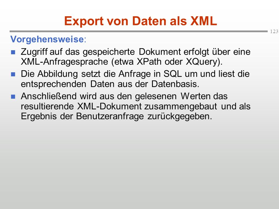 Export von Daten als XML
