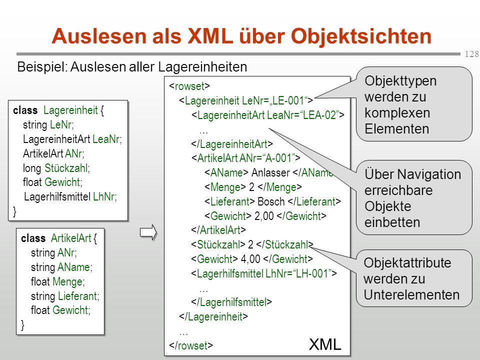 Auslesen als XML über Objektsichten