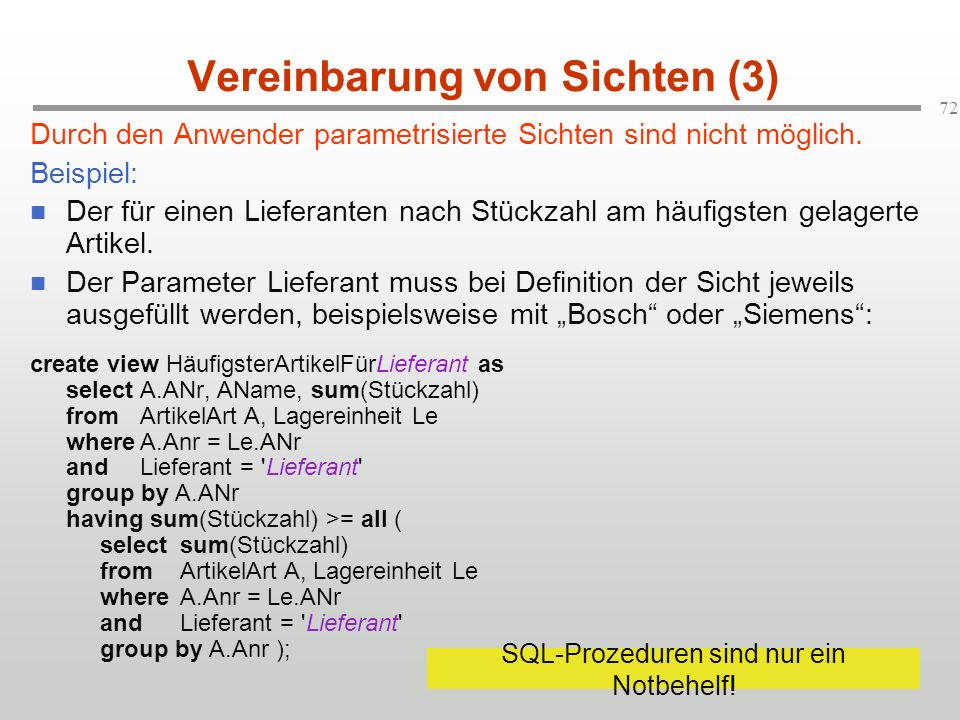 Vereinbarung von Sichten (3)