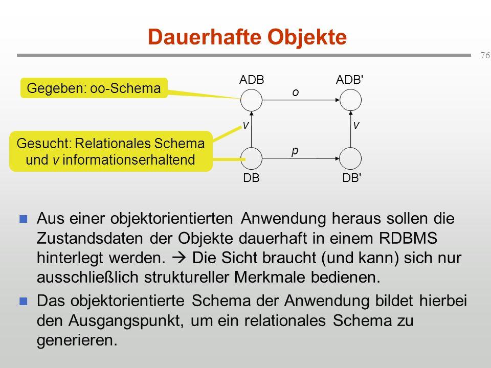 Gesucht: Relationales Schema und v informationserhaltend
