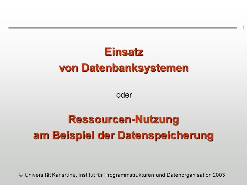 von Datenbanksystemen am Beispiel der Datenspeicherung