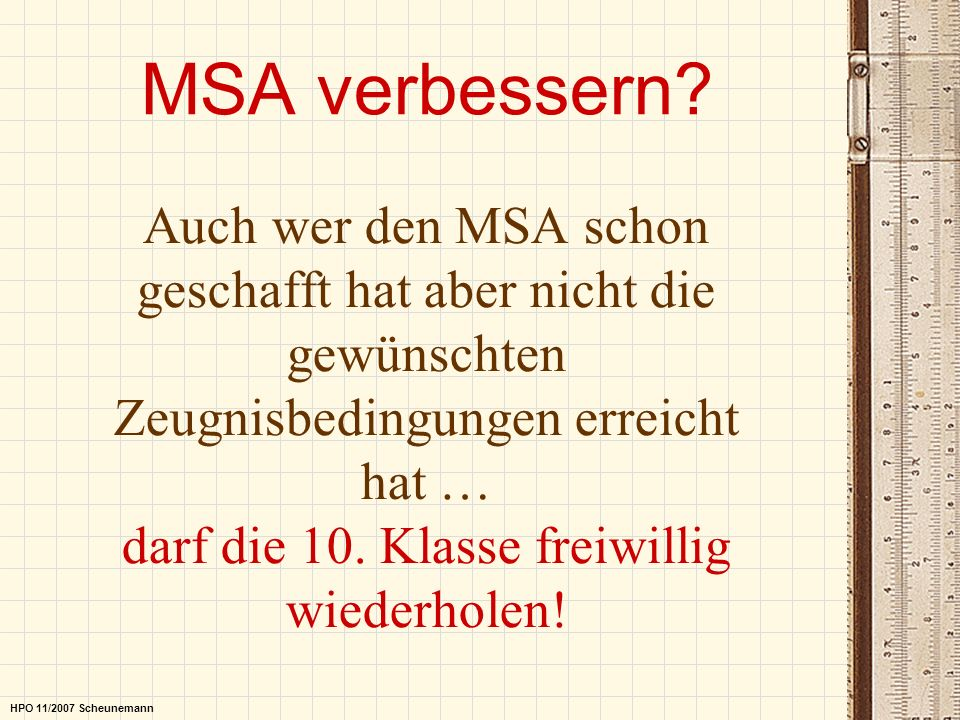 MSA verbessern