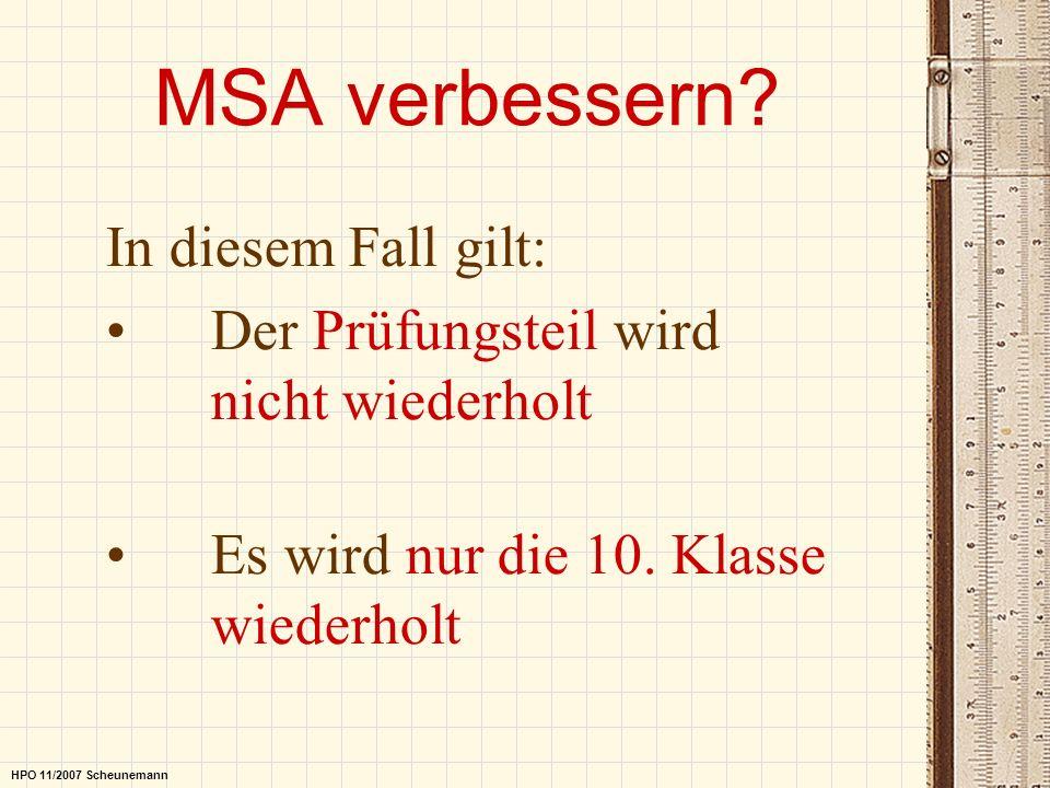 MSA verbessern In diesem Fall gilt:
