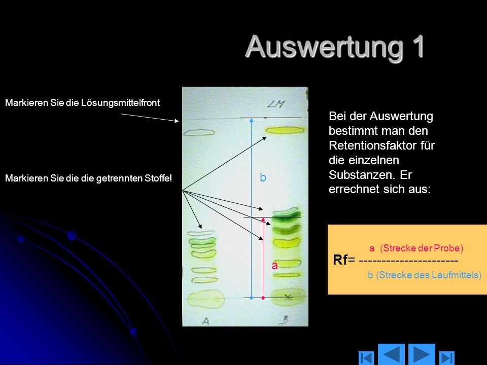 Auswertung 1 Rf= ----------------------