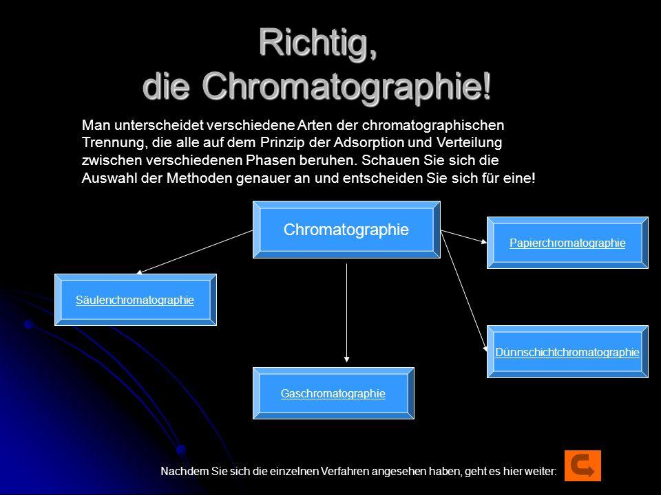 Richtig, die Chromatographie!