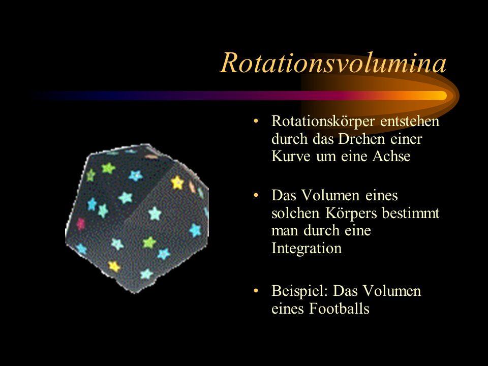 Rotationsvolumina Rotationskörper entstehen durch das Drehen einer Kurve um eine Achse.