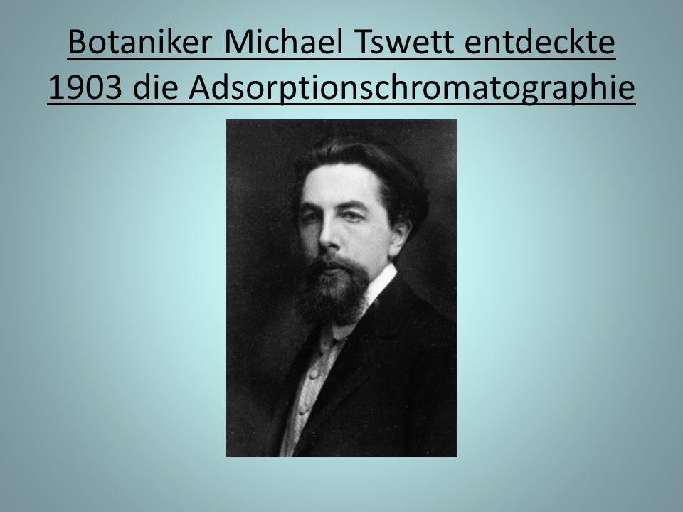 Botaniker Michael Tswett entdeckte 1903 die Adsorptionschromatographie