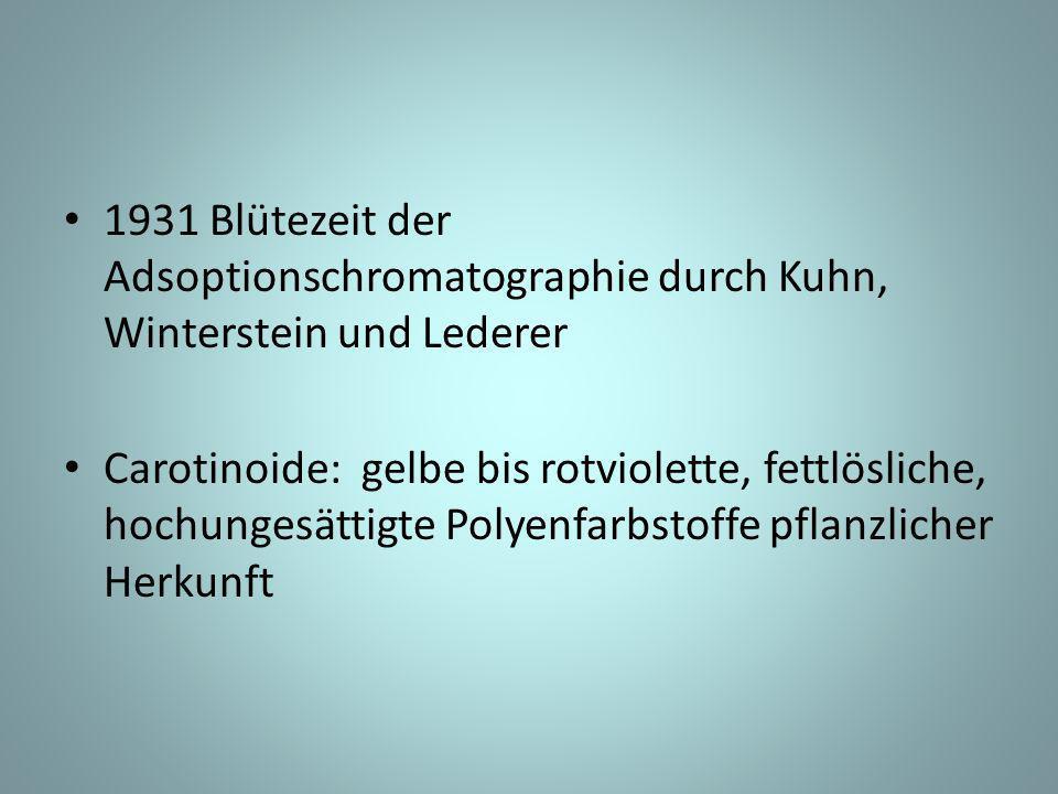 1931 Blütezeit der Adsoptionschromatographie durch Kuhn, Winterstein und Lederer