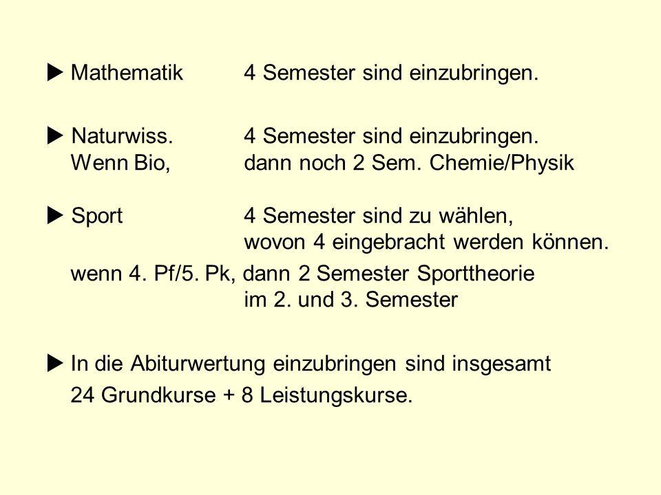 Mathematik 4 Semester sind einzubringen.