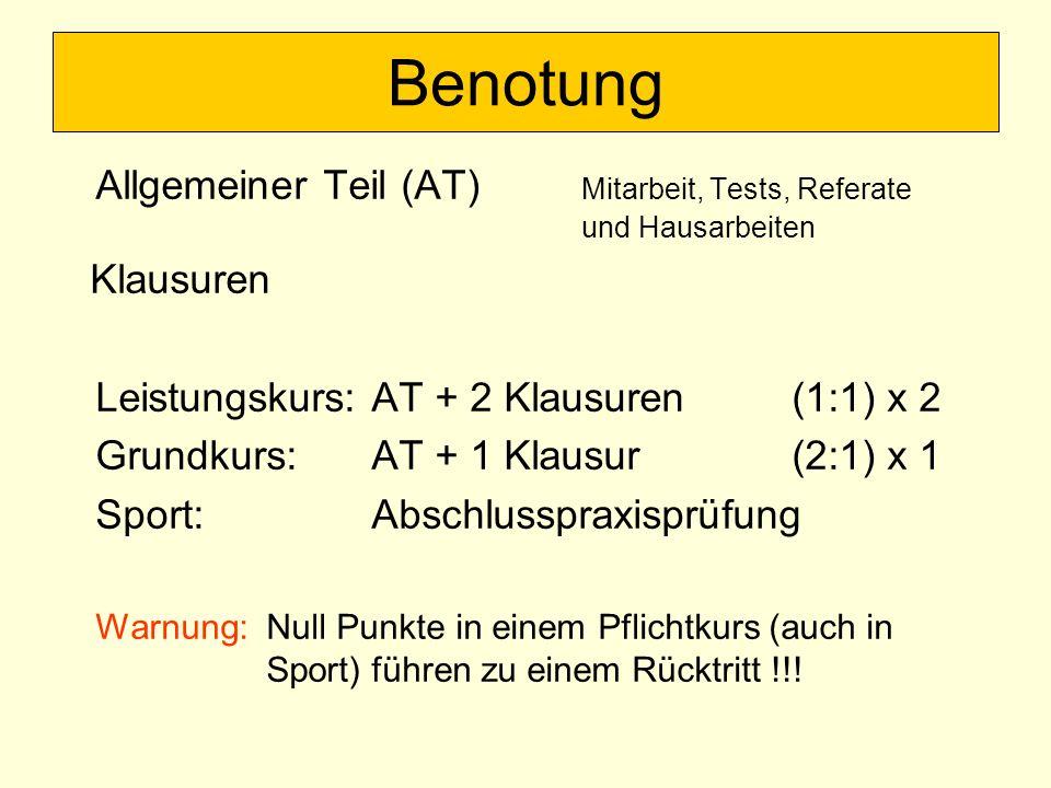 Benotung Allgemeiner Teil (AT) Mitarbeit, Tests, Referate und Hausarbeiten. Klausuren. Leistungskurs: AT + 2 Klausuren (1:1) x 2.