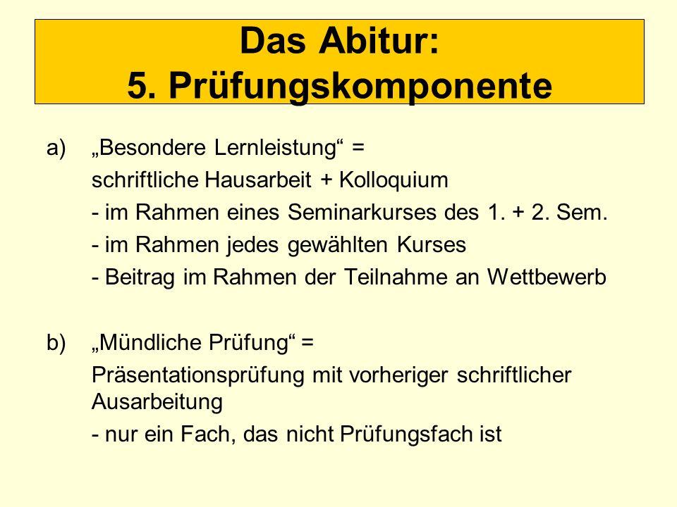 Das Abitur: 5. Prüfungskomponente