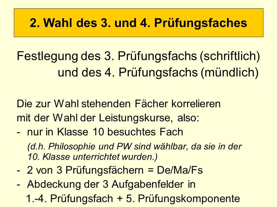 2. Wahl des 3. und 4. Prüfungsfaches