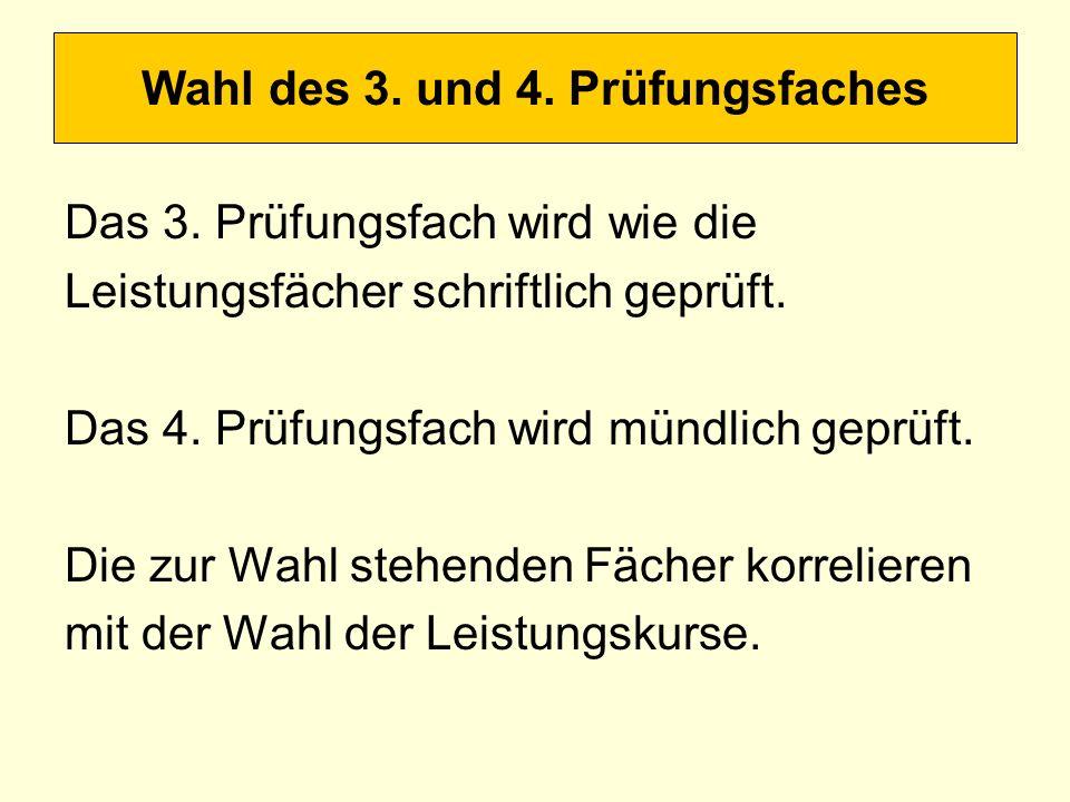 Wahl des 3. und 4. Prüfungsfaches