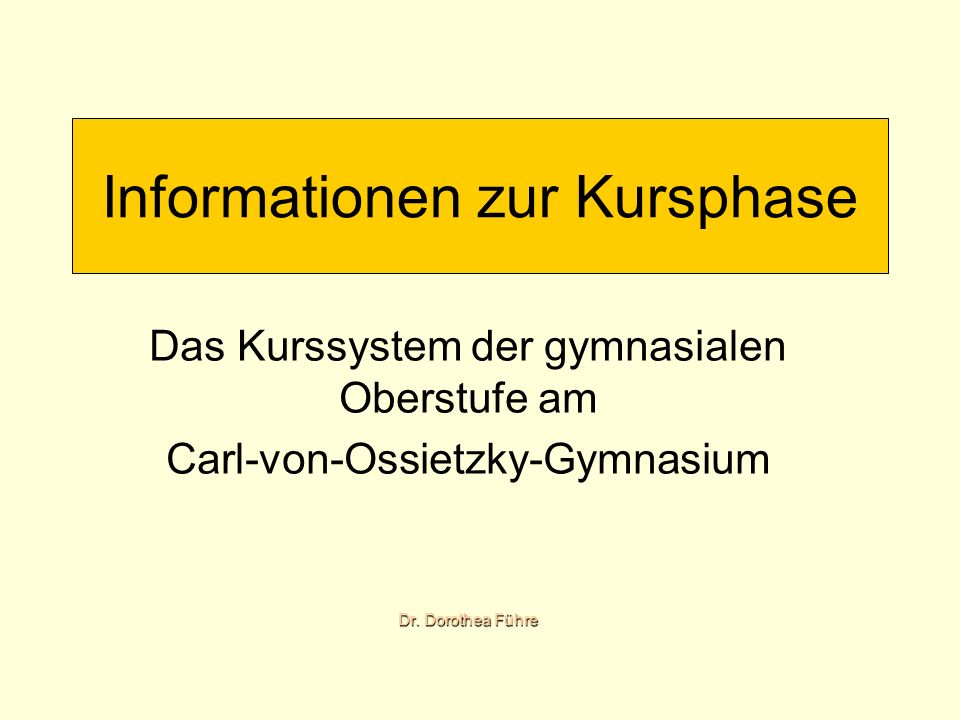 Informationen zur Kursphase