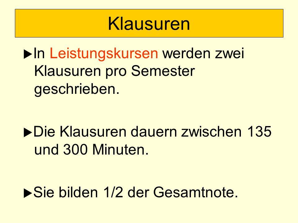 Klausuren In Leistungskursen werden zwei Klausuren pro Semester geschrieben. Die Klausuren dauern zwischen 135 und 300 Minuten.