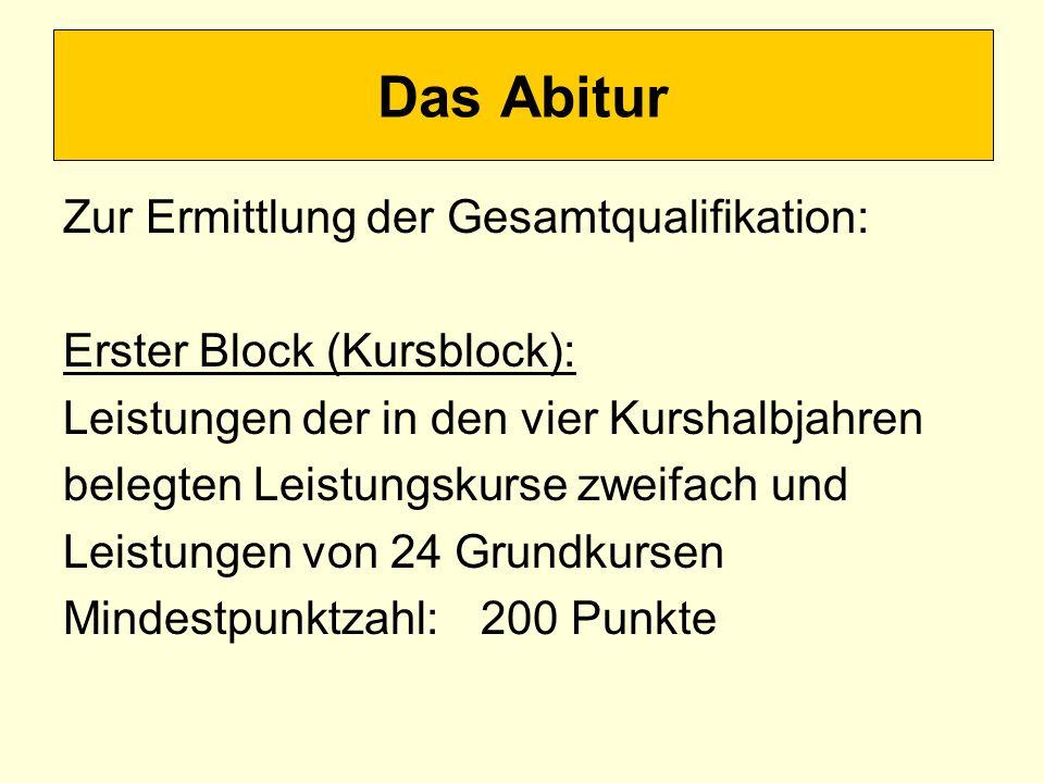 Das Abitur Zur Ermittlung der Gesamtqualifikation: