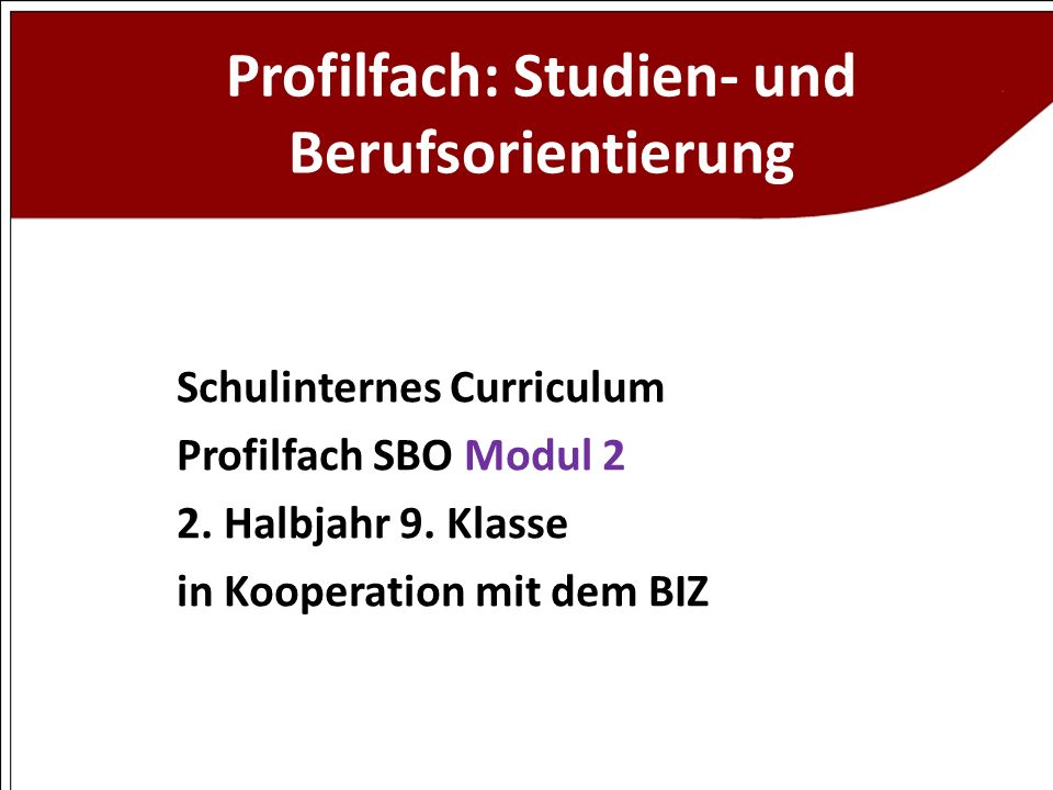 Profilfach: Studien- und Berufsorientierung