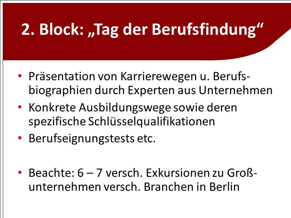 """2. Block: """"Tag der Berufsfindung"""