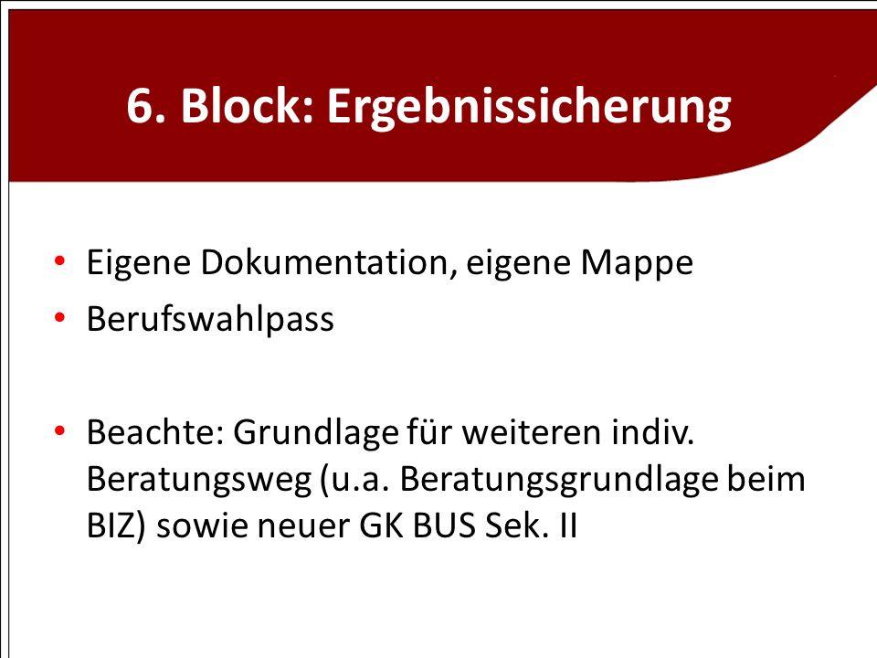 6. Block: Ergebnissicherung