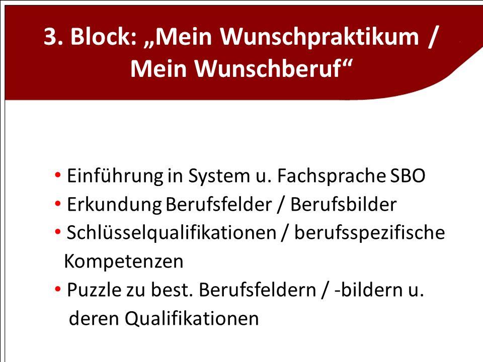"""3. Block: """"Mein Wunschpraktikum / Mein Wunschberuf"""